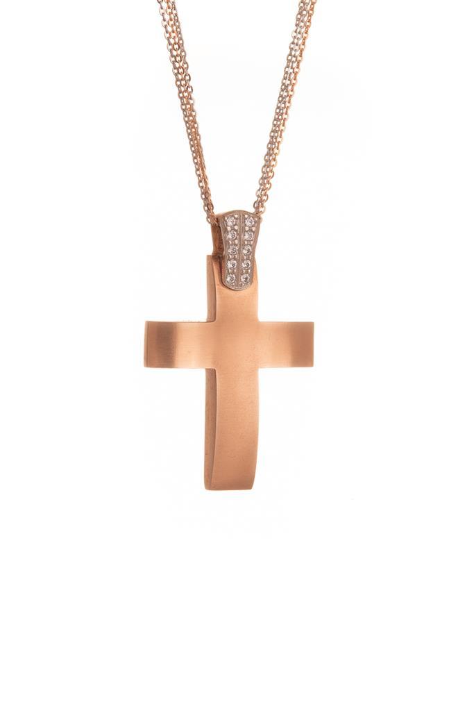 5c32b291a6d Σταυρός Ροζ Χρυσός Κ14 με ζιρκόν & Διπλή Αλυσίδα