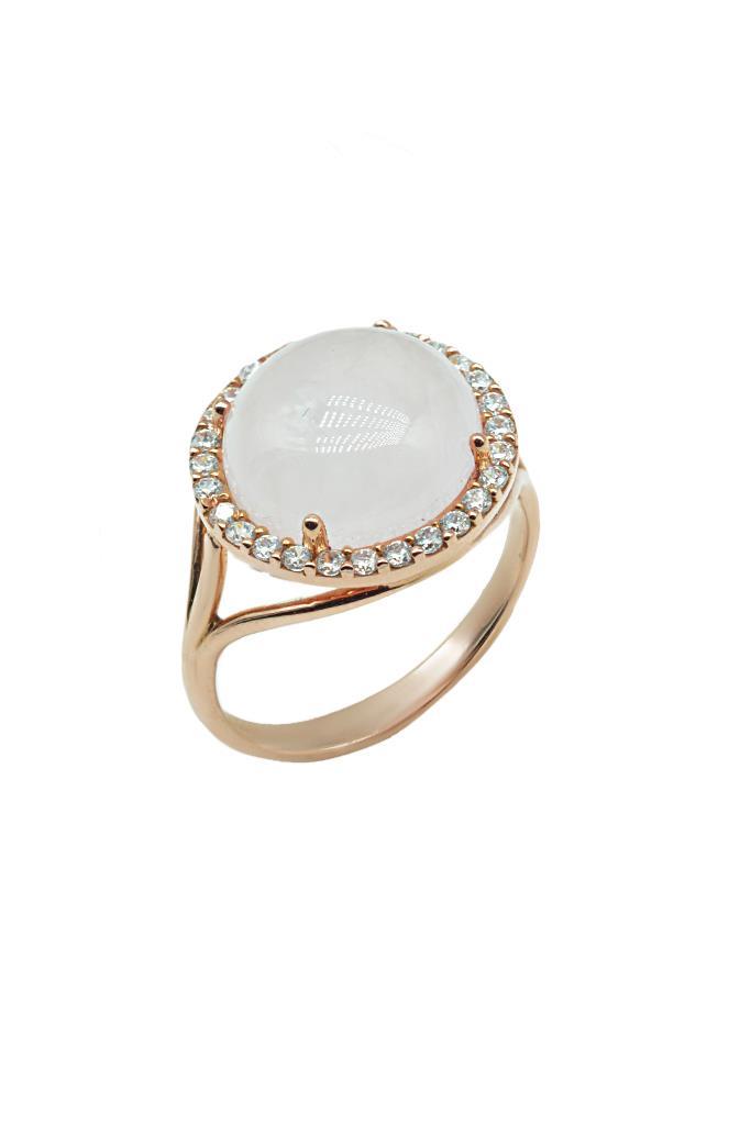nkj.gr-Δαχτυλίδι Ροζέτα Ροζ Χρυσό Κ14 με Πέτρες Ζιργκόν και Χαλαζία-NKJ ec3afb6c26a