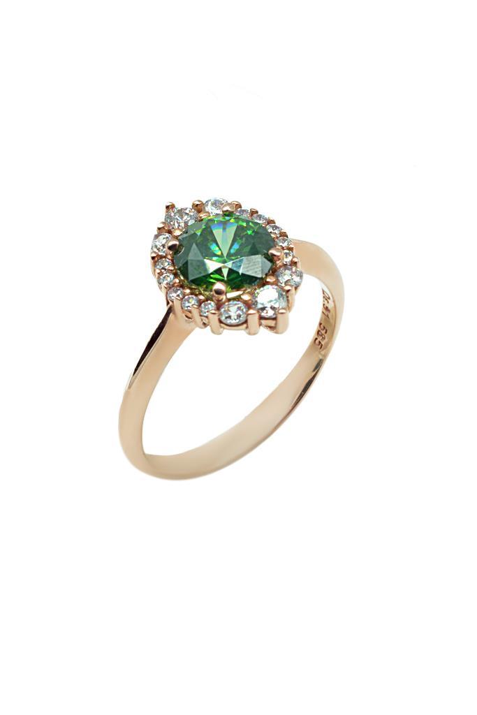 nkj.gr-Δαχτυλίδι Ροζέτα Κ14 σε Ροζ Χρυσό με Πράσινη Πέτρα-NKJ 01ea69e02b3
