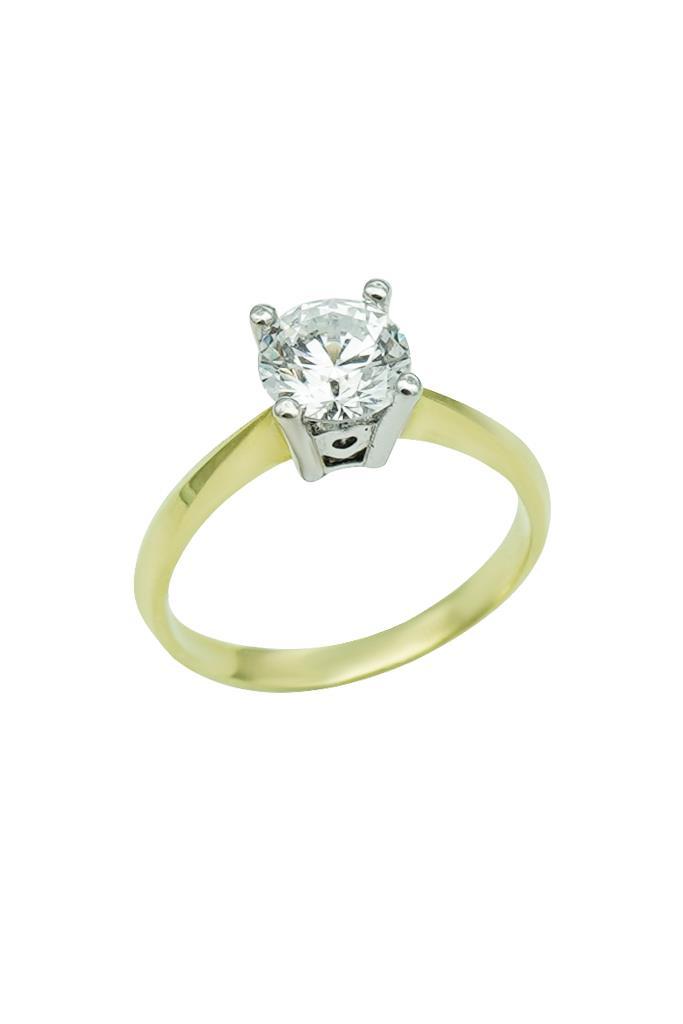 nkj.gr-Δαχτυλίδι Χρυσό Κ14 Μονόπετρο με Ζιρκόν-NKJ dbf74483209