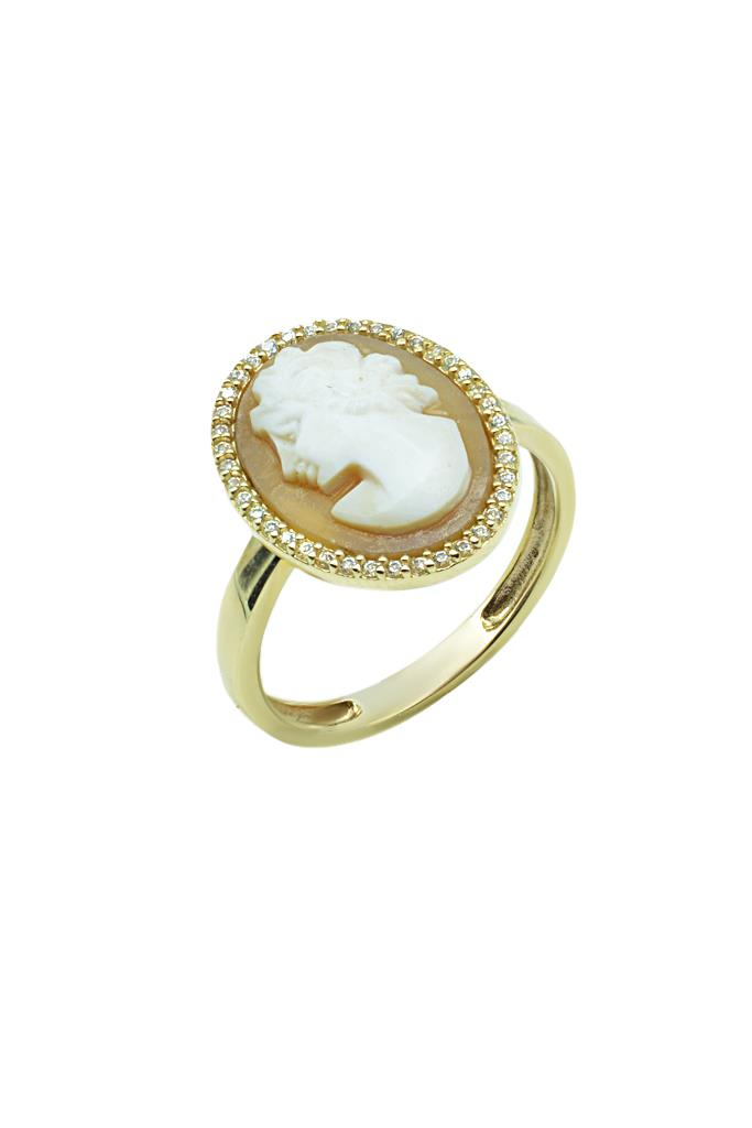 nkj.gr-Δαχτυλίδι Cameo Καφέ Χρυσό Κ14 με Ζιρκόν-MetronGold f0f4e9890f6