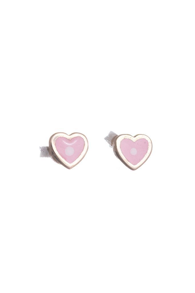 e054a677a6 nkj.gr-Χρυσά Παιδικά Σκουλαρίκια Κ14 Καρδιά με Ροζ Σμάλτο-NKJ