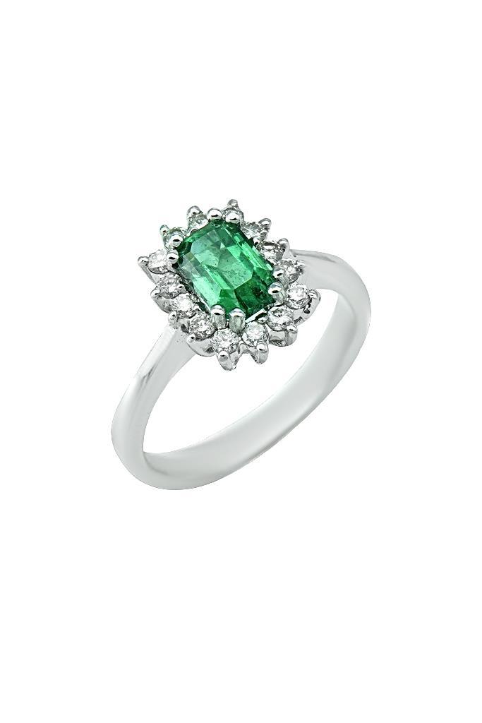nkj.gr-Δαχτυλίδι Ροζέτα Λευκόχρυσο με Σμαράγδι   Μπριγιάν Κ18-NKJ a375af7c00f