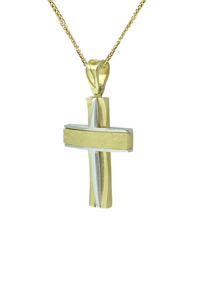 22538dcd53f Χρυσός Δίχρωμος Μοντέρνος Σταυρός Κ14